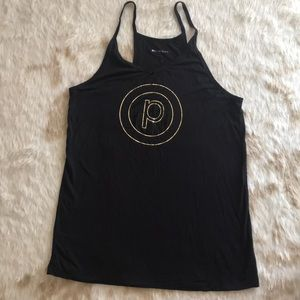 Black tank with gold circle P